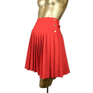 Vintage 60's Red High Rise A-Line Pleat Mini Skirt
